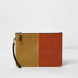 Orange and yellow suede pouch clutch bag