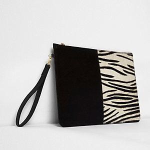 Black zebra panel suede pouch clutch bag