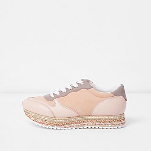 Pink espadrille lace-up runner sneakers