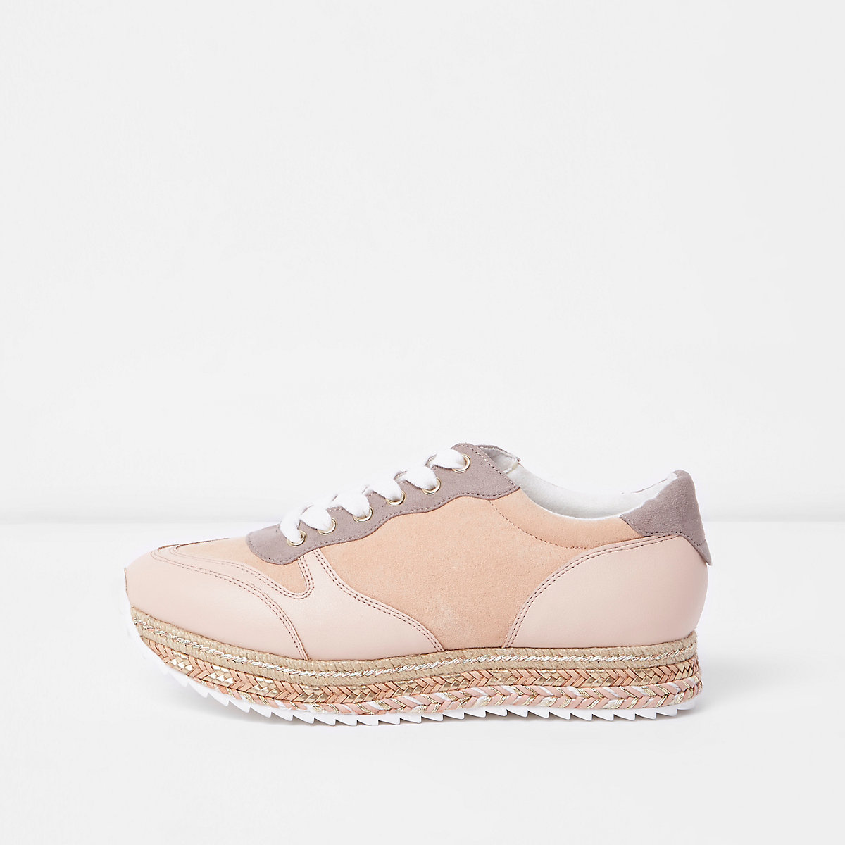 Pink espadrille lace-up runner trainers