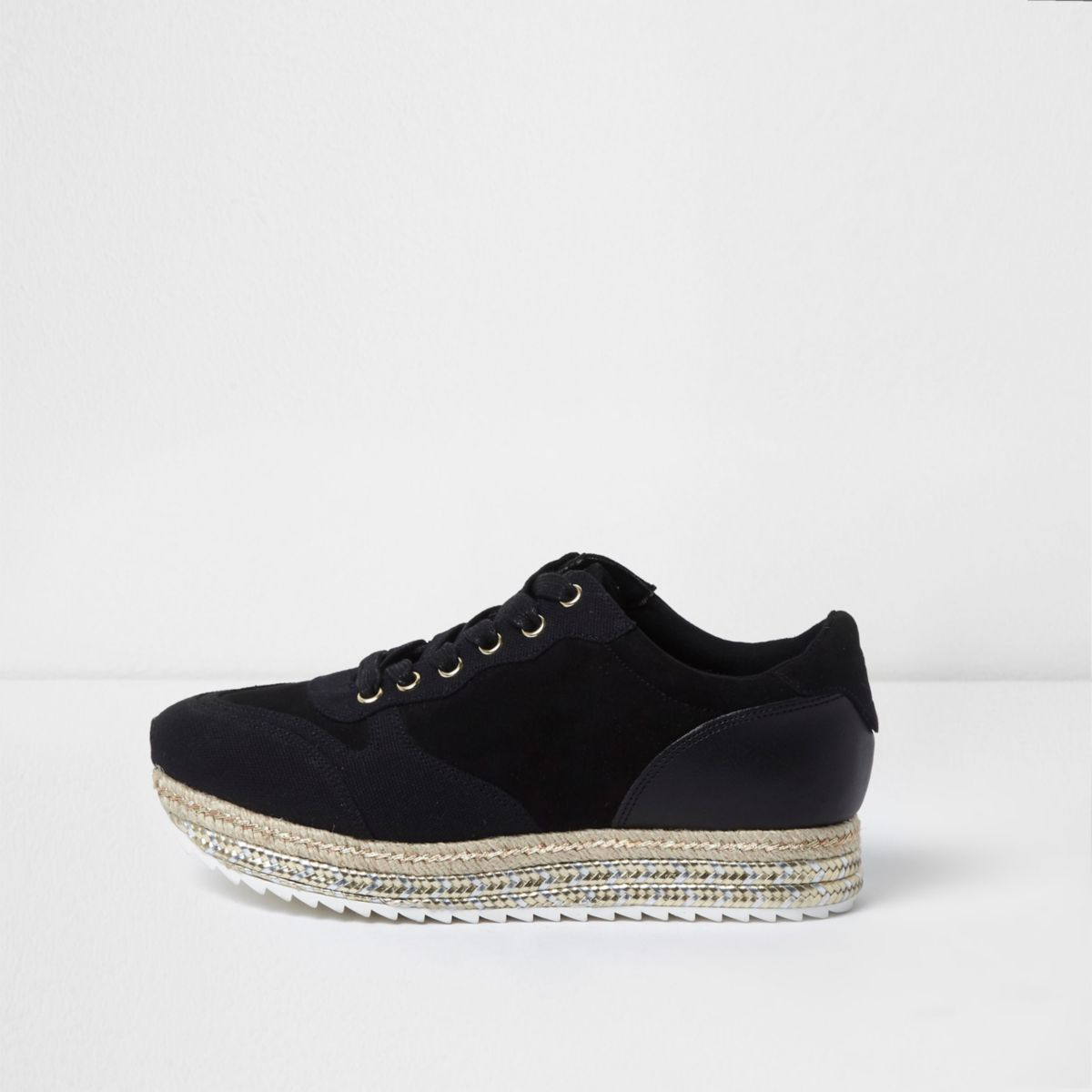 Black stacked espadrille sole runner sneakers