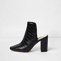 Zwarte muiltjes met blokhak en krokodillenprint