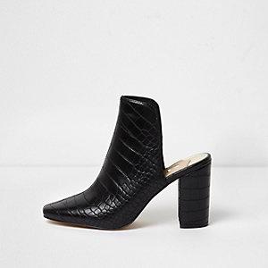 Black croc block heel mules