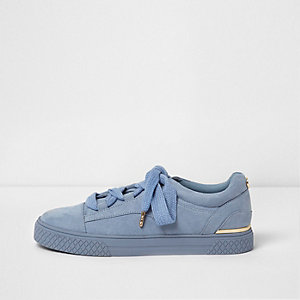 Light blue chunky lace-up sneakers
