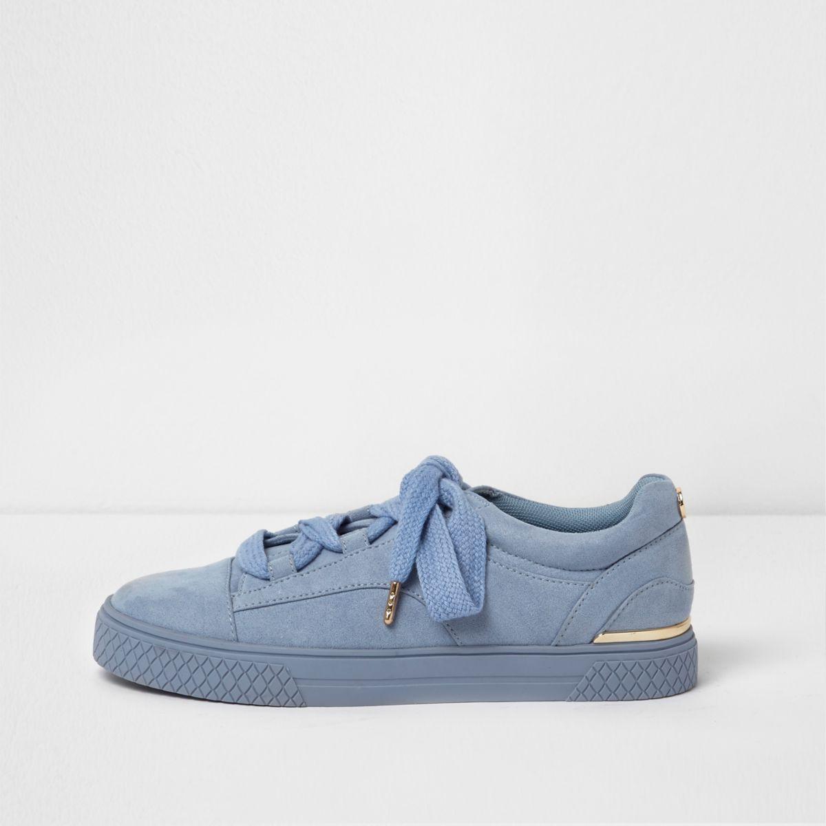 Lichtblauwe grove vetersneakers