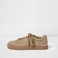 Beige lace-up chunky trainers