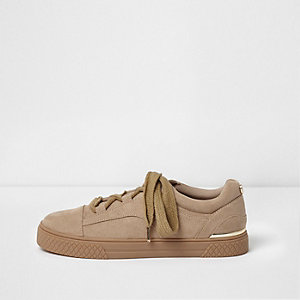 Beige grove sneakers met veters