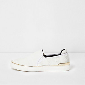 White mixed texture slip on plimsolls