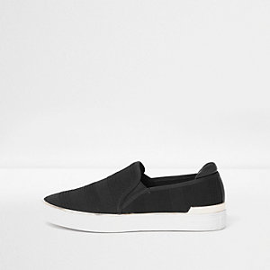 Black jacquard slip on plimsolls