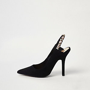Black jewel slingback court shoes