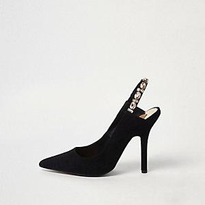 Black jewel slingback court shoes