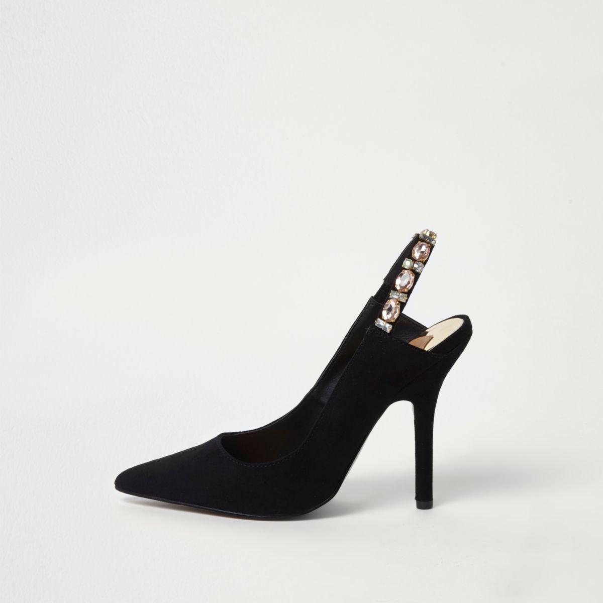 Black jewel slingback pumps