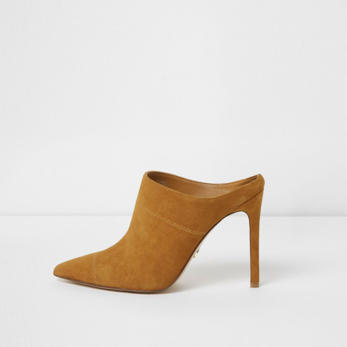 Tan pointed toe stiletto suede mules