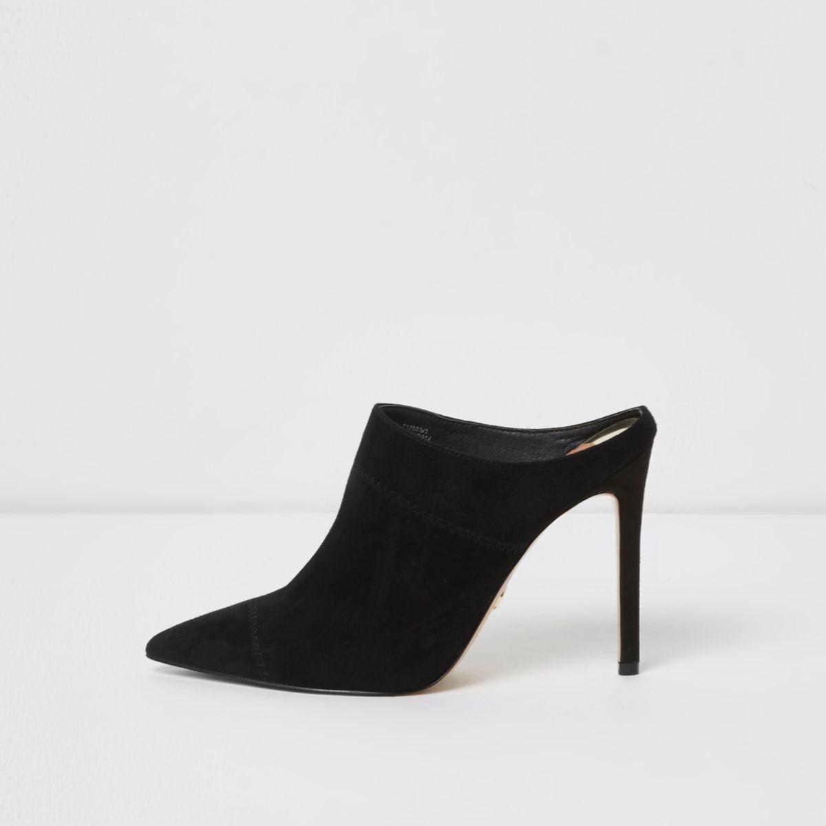 Black pointed heeled mule pumps