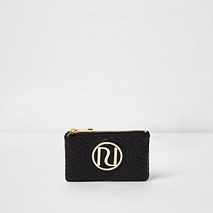 Black quilted mini zip top pouch purse