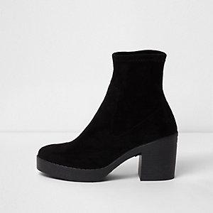 Black chunky block heel sock boots