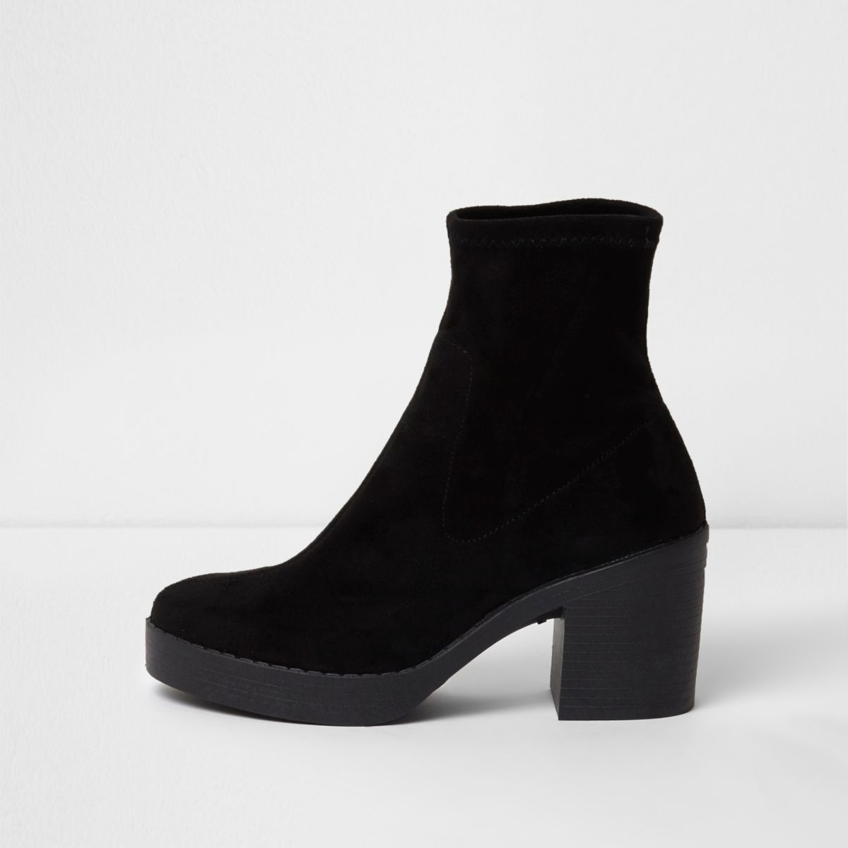 Black chunky block heel sock boots - Shoes & Boots - Sale - women