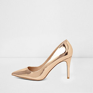 Rose gold metallic mid heel court shoes