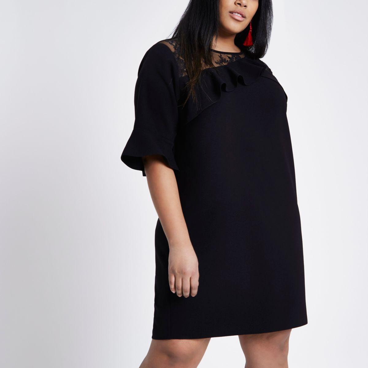 Plus black frill lace inserts shift dress