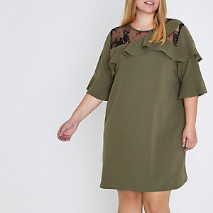 Plus green frill lace insert shift dress
