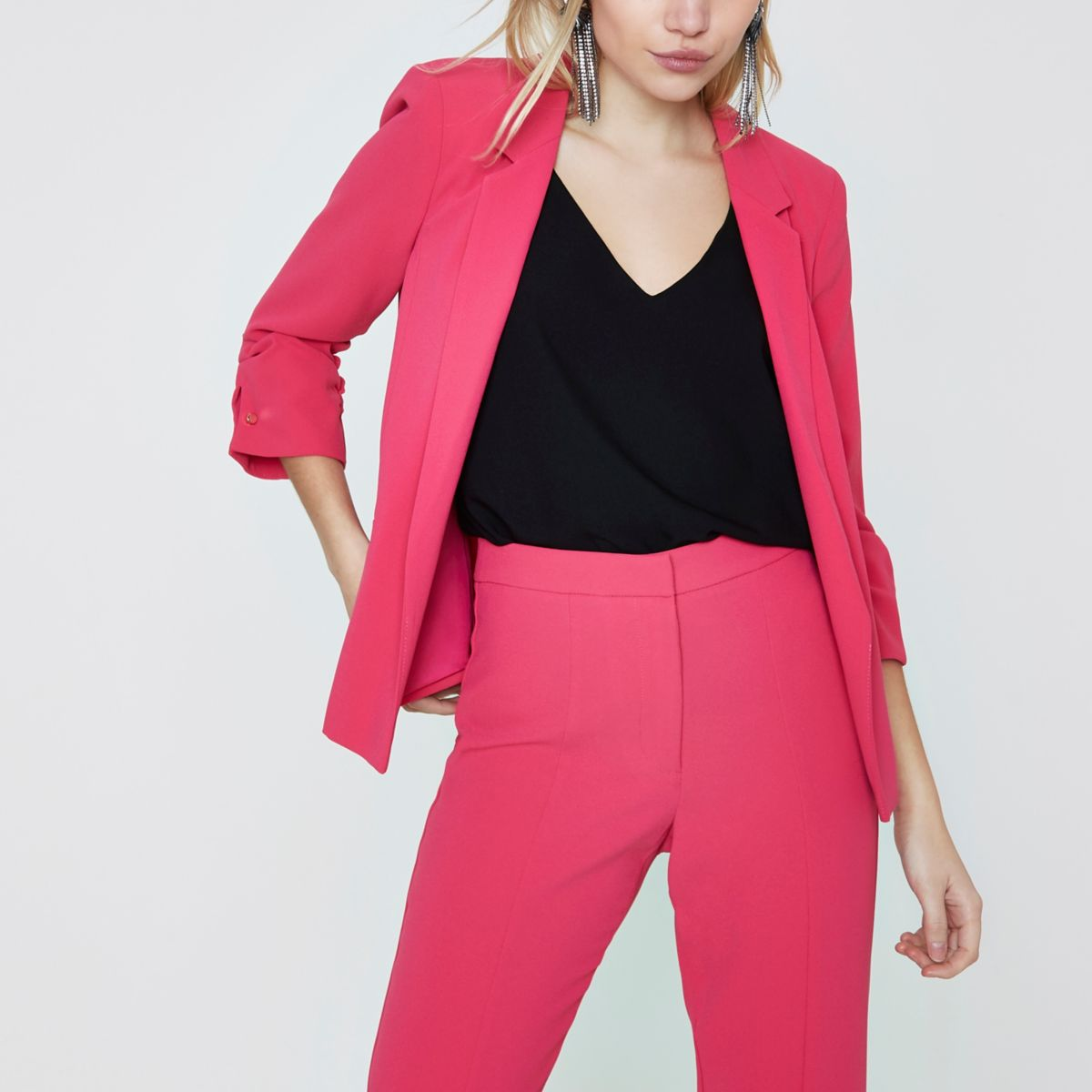 Petite bright pink bar cuff blazer