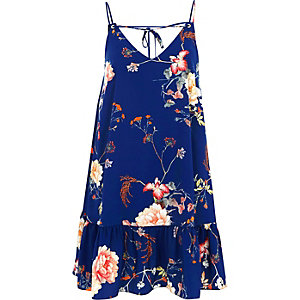 Blaues Trägerkleid mit Rüschensaum und Blumenmuster