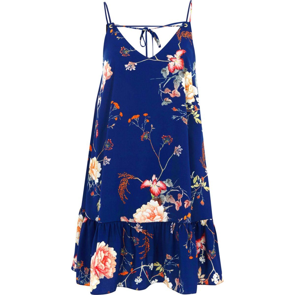 Blue floral frill hem cami dress