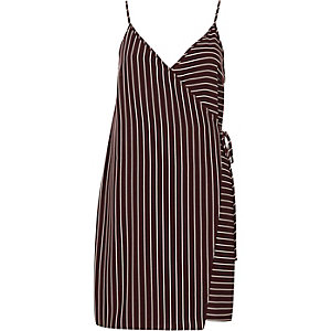 Red stripe wrap front cami slip dress