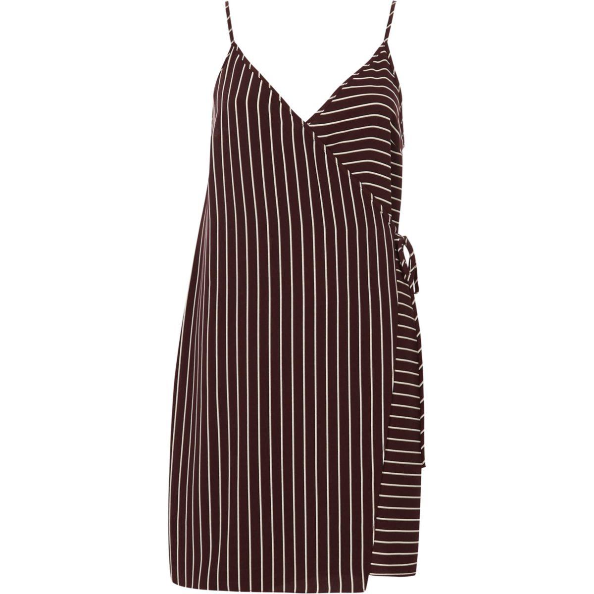 Red stripe wrap front cami slip dress