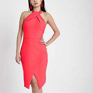 Bright pink wrap halter neck bodycon dress