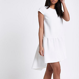 Cream dropped waist swing dress