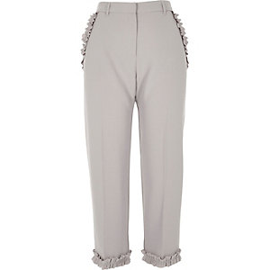 Grey frill hem cropped trousers