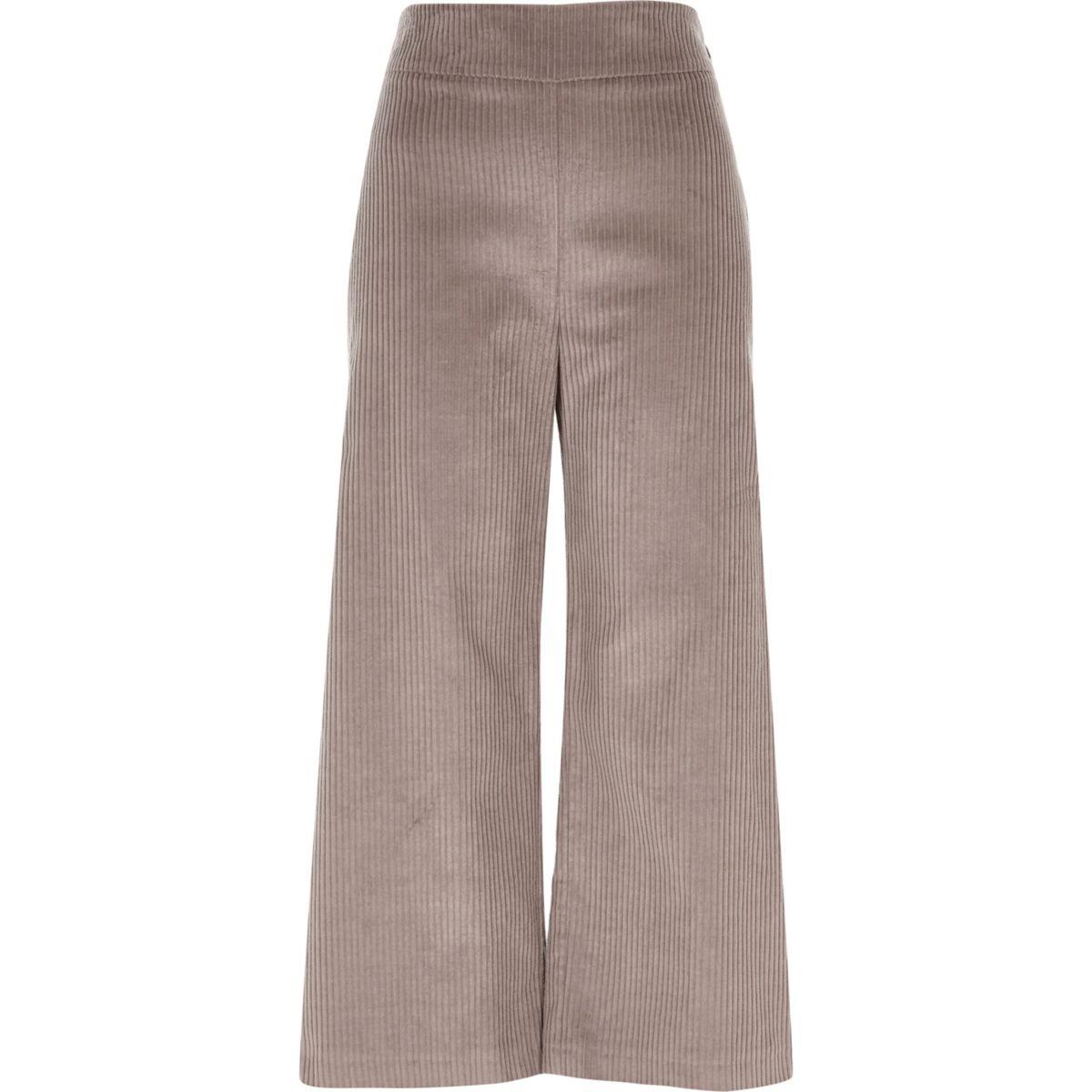 Jupe-culotte en velours côtelé beige