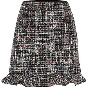 Dark grey boucle frill hem mini skirt