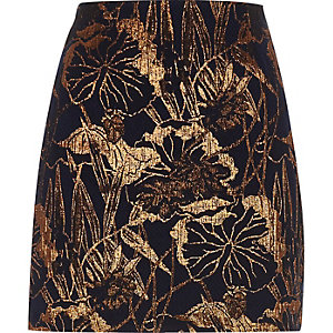 Navy floral metallic jacquard mini skirt