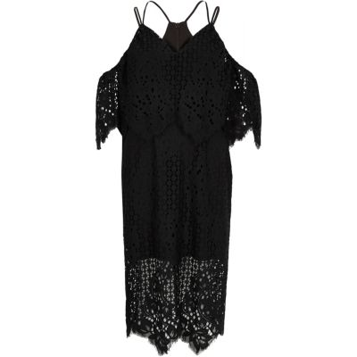 River Island Zwarte brokaten bodycon midi-jurk met kant