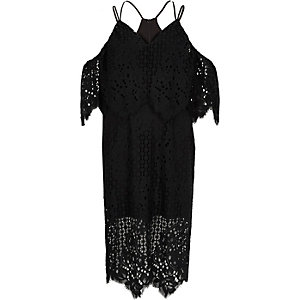 Black broderie lace bodycon midi dress