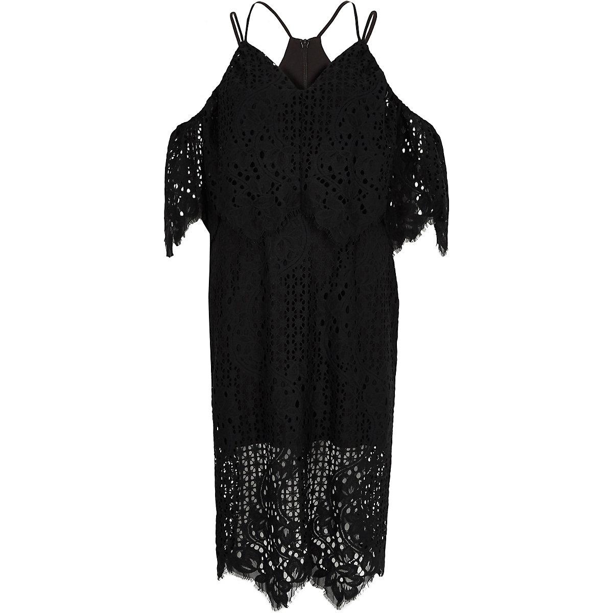 Zwarte brokaten bodycon midi-jurk met kant