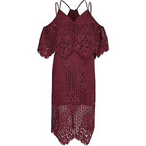 Dark pink broderie lace bodycon midi dress