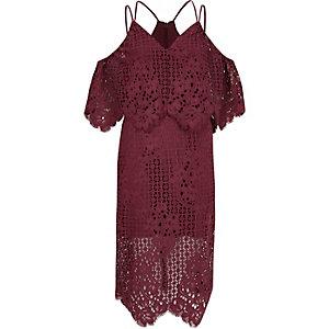 Donkerroze brokaten bodycon midi-jurk met kant