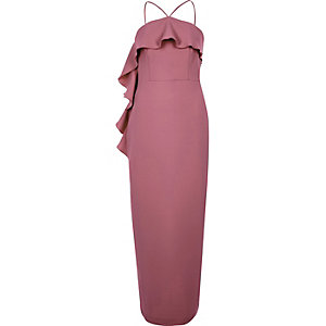 Dark pink cross neck frill bodycon dress