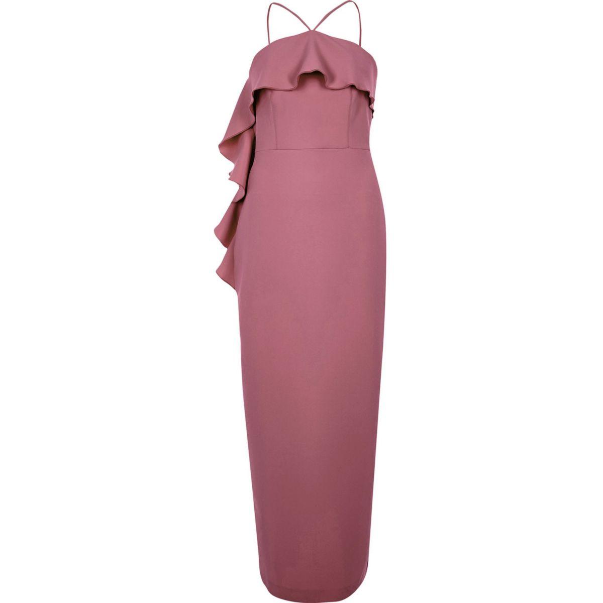 Dark pink cross neck frill bodycon dress