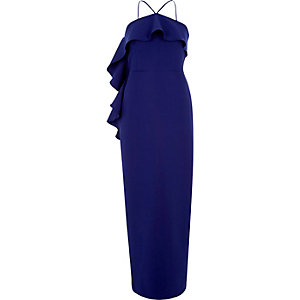 Blue cross neck frill bodycon dress