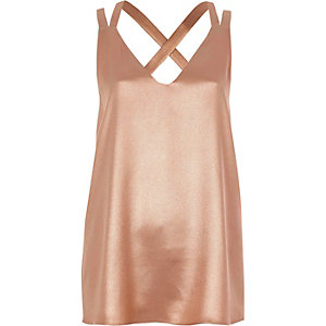 Rose gold double strap cross back tank