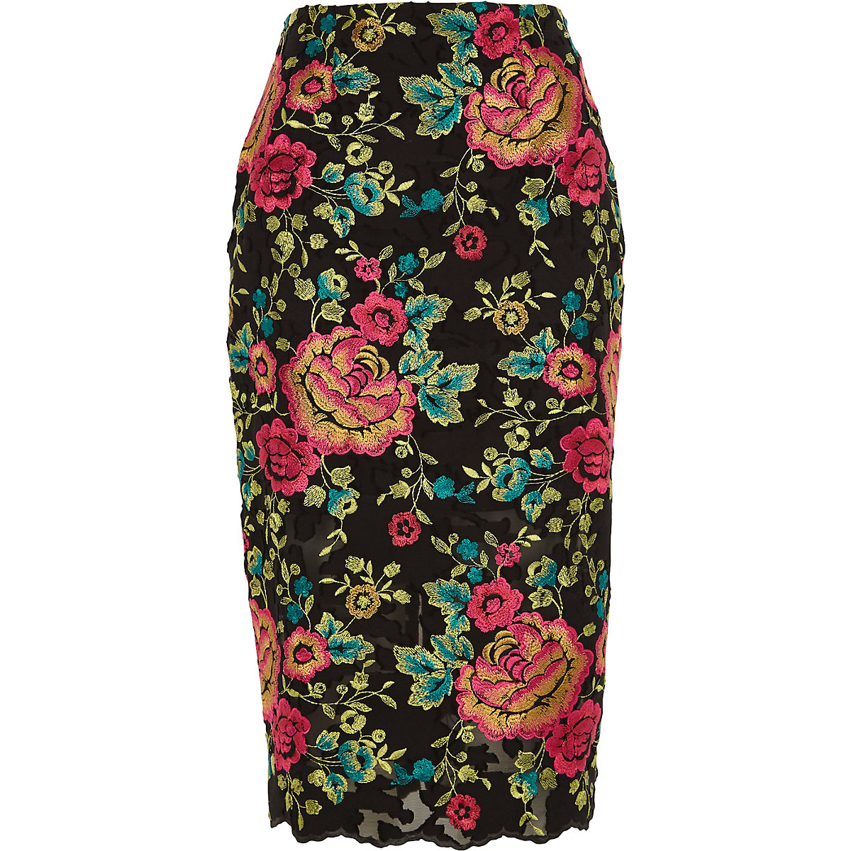 Black floral embroidered pencil skirt