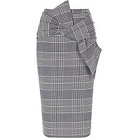 Black check bow front pencil skirt