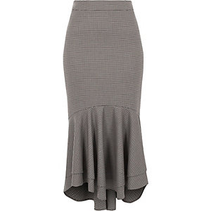 Brown check tiered fishtail pencil skirt