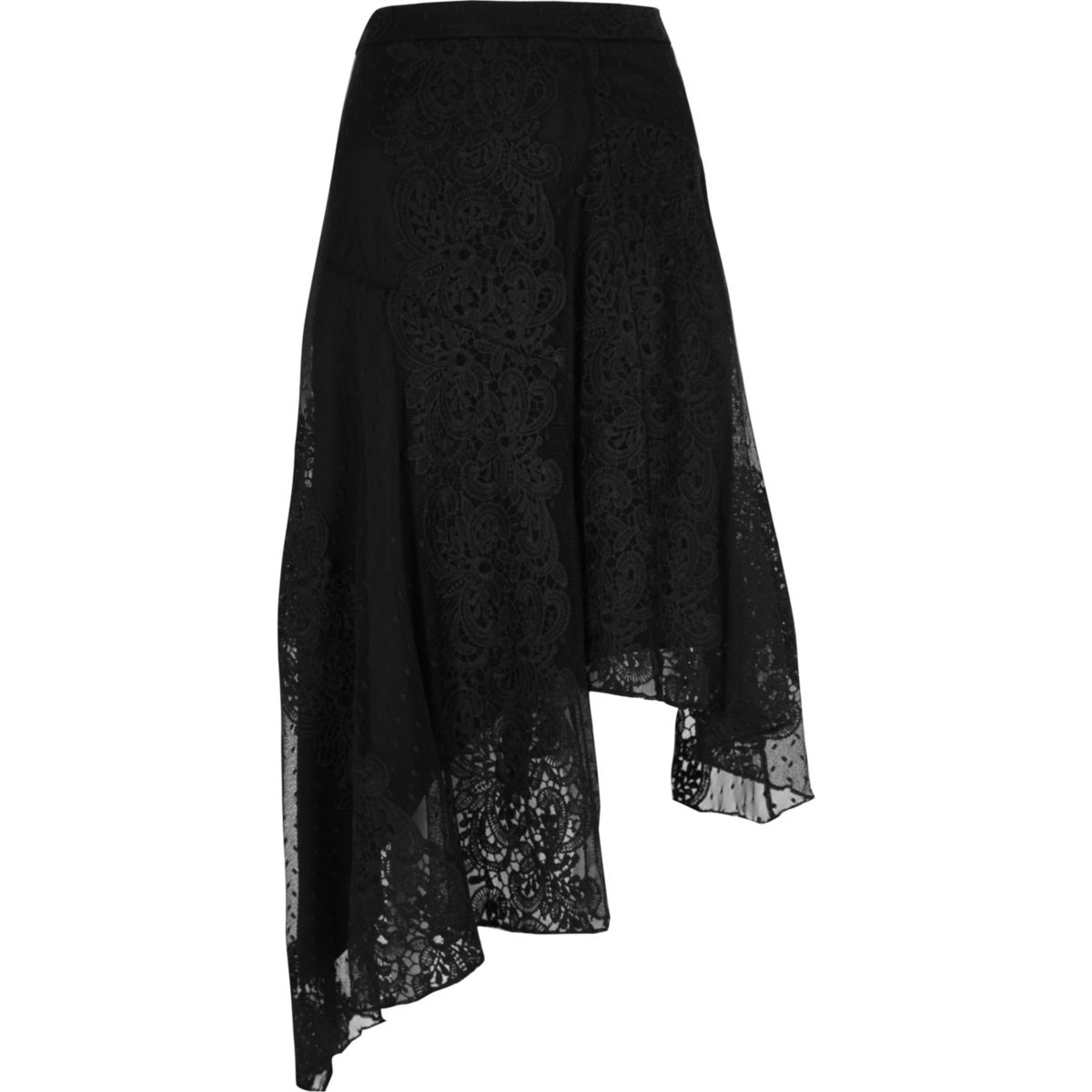 Black mesh and lace asymmetric midi skirt