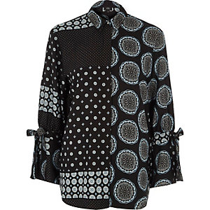 Black paisley mix print tie sleeve shirt