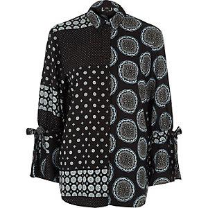 Zwart overhemd met strik aan de mouwen en gemengde paisley-print
